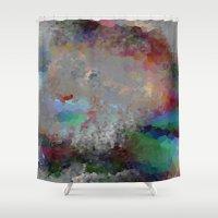 predator Shower Curtains featuring Pastel Predator by Darcy Lynn Designs