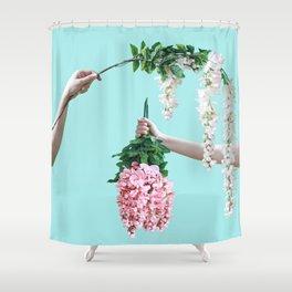 1992 Floral Episodes (Aqua) Shower Curtain