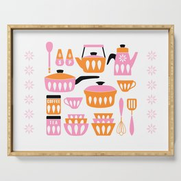 My Midcentury Modern Kitchen In Pink And Tangerine Serving Tray