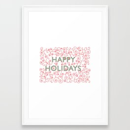 Happy Holidays Swirlies Framed Art Print