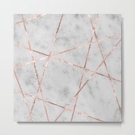 White Marble Rose Gold Geo Glam #2 #geo #decor #art #society6 Metal Print