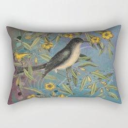 Flycatcher with Carolina Jasmine, Vintage Natural History and Botanical Rectangular Pillow