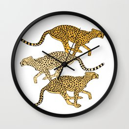 Go Cheetahs Go Pen and Ink by Lorloves Design Wall Clock