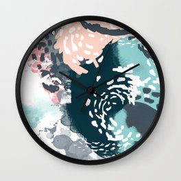 August - Abstract modern painting in bold colors for trendy feminine style Wall Clock