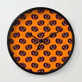 Halloween Orange Cute Pattern Wall Clock