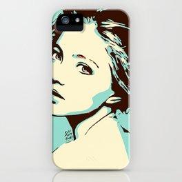 Blue Girl Looking Over Shoulder Portrait Digital Art Vector Illustration iPhone Case