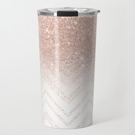 Modern faux rose gold glitter ombre modern chevron stitches pattern Travel Mug
