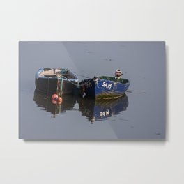 Boats at low tide, Waterford City, Waterford Metal Print