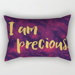 Faux gold glitter inspirational quote on purple watercolor Rectangular Pillow