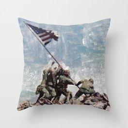 Raising The Flag on Iwo Jima, WWII Throw Pillow