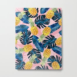 Tropical watercolor pattern with pineapples Metal Print