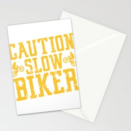 Caution Slow Biker Riding Bicycle Healthy Lifestyle Travel Bmx Brake Cycling Bike T-shirt Design Stationery Cards