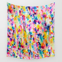 Bright Colorful Abstract Painting in Neons and Pastels Wall Tapestry