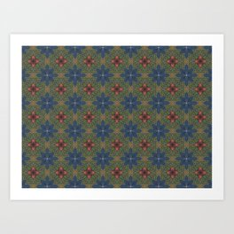 blue and red flowers Art Print
