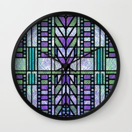 Aqua and Green Art Deco Stained Glass Design Wall Clock
