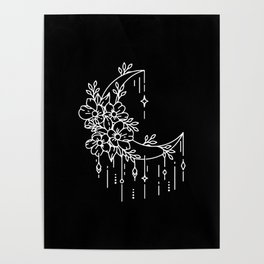Geometric half moon with flowers Poster