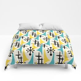 Mid Century Modern Atomic Wing Composition Turquoise & Yellow Comforters