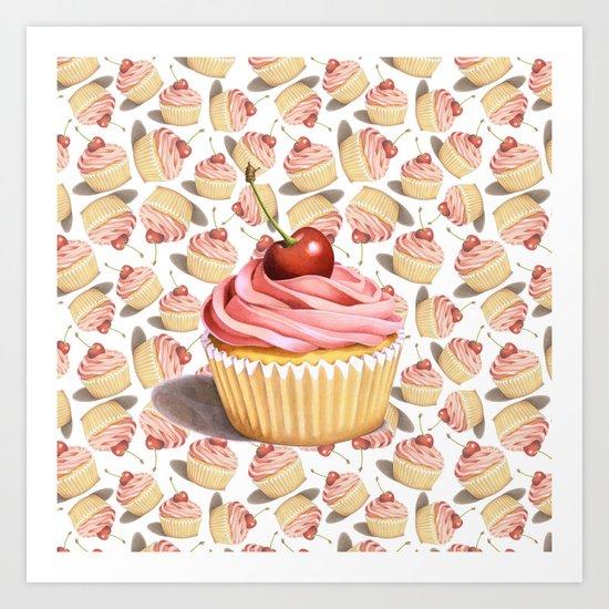 Pink Cupcake II Art Print