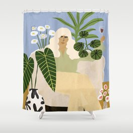 Wine and Plants Shower Curtain