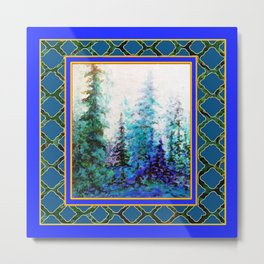 WESTERN  BLUE FOREST WATER COLOR TEAL PATTERN ART Metal Print