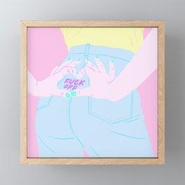 LOVE BUT FUCK OFF Framed Mini Art Print