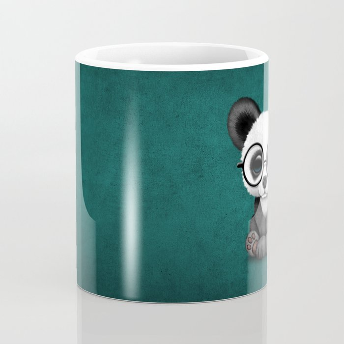 Cute Panda Bear Cub with Eye Glasses on Teal Blue Coffee Mug