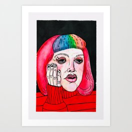 Red cheeks Art Print