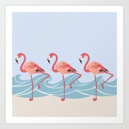 Seaside Flamingos Art Print