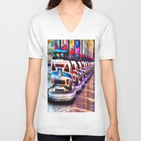 cars V-neck T-shirts featuring Bumper cars by Simon Ede Photography