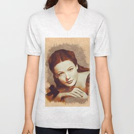 Gene Tierney, Hollywood Legend Unisex V-Neck