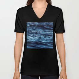 Shinning deep blue perfect waves close up stamp pattern Unisex V-Neck