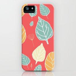 Hand drew leaf pattern in vintage color iPhone Case