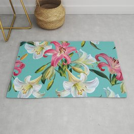 White and pink lily on blue background.Watercolor painting. Rug