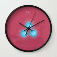 league Wall Clocks featuring League of Legends: Ahri by Monstruonauta