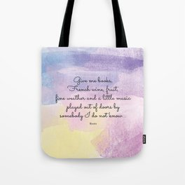 Give me books, French wine - Keats Tote Bag