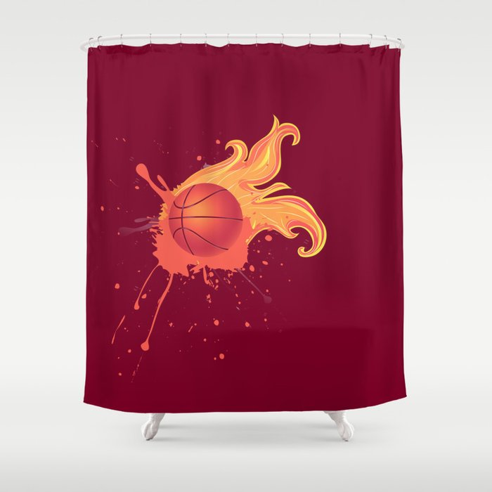 Grunge Flaming Basketball Shower Curtain By Annartshock