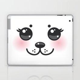 Kawaii funny albino animal white muzzle with pink cheeks and big black eyes Laptop & iPad Skin