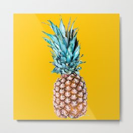 Pineapple Ananas On A Yellow Mellow Background #decor #society6 #buyart Metal Print