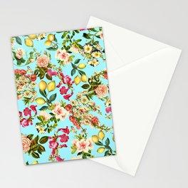 Lemon and Leaf Pattern IV Stationery Cards