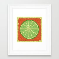 coasters Framed Art Prints featuring LIME MOSAIC by Tanya Pligina