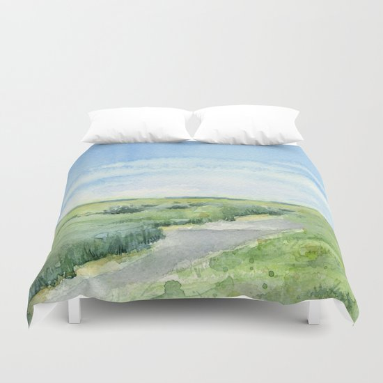 Sky and Grass Landscape Watercolor Duvet Cover