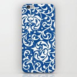 Blue Tudor Rose Damask iPhone Skin