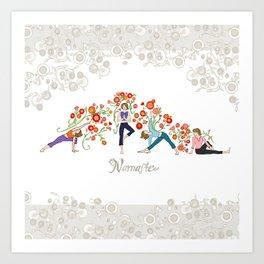 Yoga Girls_Namaste_Poses and Flowers Large scale Art Print