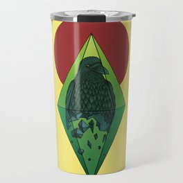 Geometric Crow in a diamond (tattoo style - color version) Travel Mug