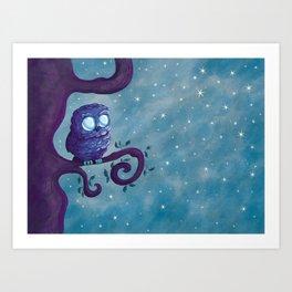Owl & the stars Art Print