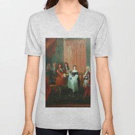 Antoine Watteau - French Dauphin Presented with an Order Unisex V-Neck