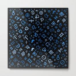 Astrological symbols glyphs blues on black Metal Print