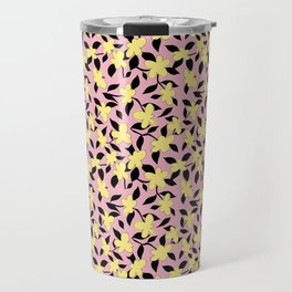 Liberty Print . Floral Seam Pattern . Pink and Yellow Color trend . for fashion and Home decor Travel Mug