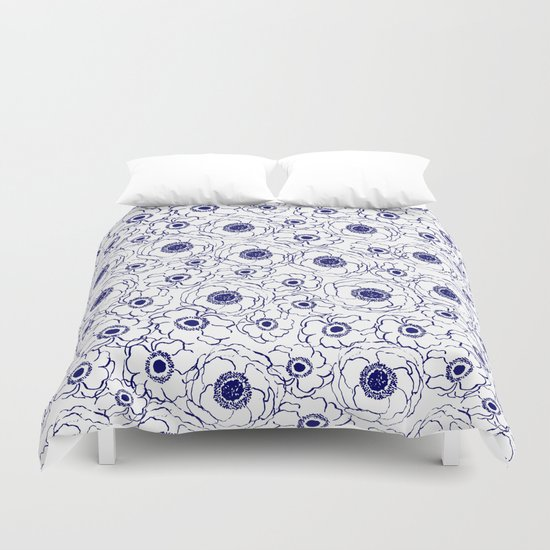 Painterly flowers indigo blue bright minimal modern painting gender neutral abstract art dorm room Duvet Cover