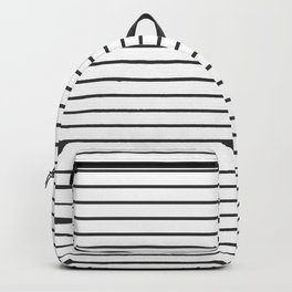 Dark Grey on White Pinstripes | Thin Horizontal Pinstripes | Backpack